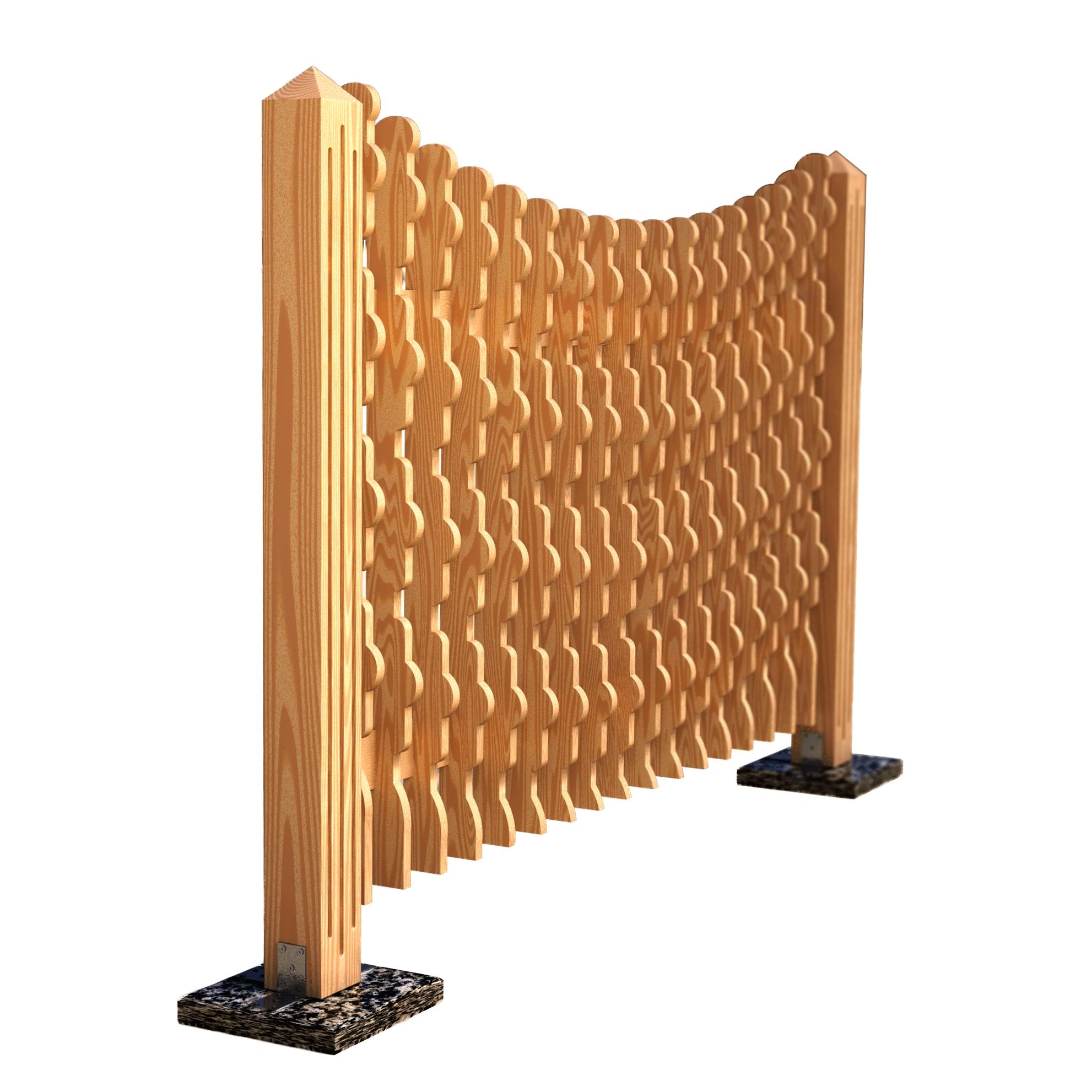 Decorative fence panel axel